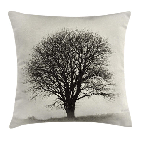 Ambesonne Gray Throw Pillow Cushion Cover, Photo of A Big Tree on A Field Branches Fall Season Monochromic Landscape Artwork, Decorative Square Accent Pillow Case, 20 X 20 Inches, Beige Black