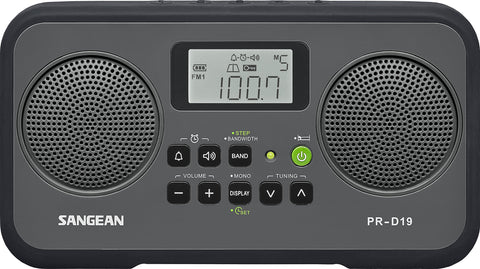 Sangean PR-D19BK FM Stereo/AM Digital Tuning Portable Radio with Protective Bumper (Gray/Black) Gray/Black