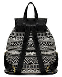 Scarleton Trendy Studded Jacquard Backpack H2003 Black/Off White