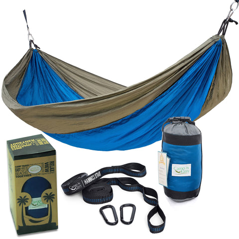 Rip Resistant Single Parachute Camping Hammock with 2 Multi Loops Tree Straps Included. Ultralight Nylon. Portable & Compact. Best for Hiking, Backpacking, Trek & Travel. Special Compression Bag Blue/Grey