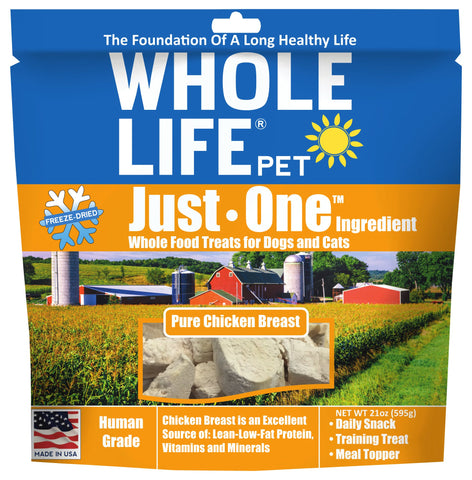Whole Life Pet Pure Meat All Natural Freeze Dried Chicken Breast Treats 21 oz Standard Packaging