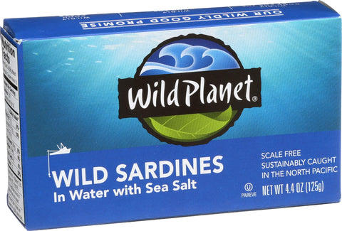 Wild Planet Wild Sardines in Water with Sea Salt, Keto and Paleo, 4.4 Ounce (Pack of 12) 4.4-Ounce