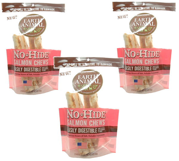 "6-Count Earth Animal No-Hide Salmon Chews 7"" (3 Packages with 2 Chews Each)"