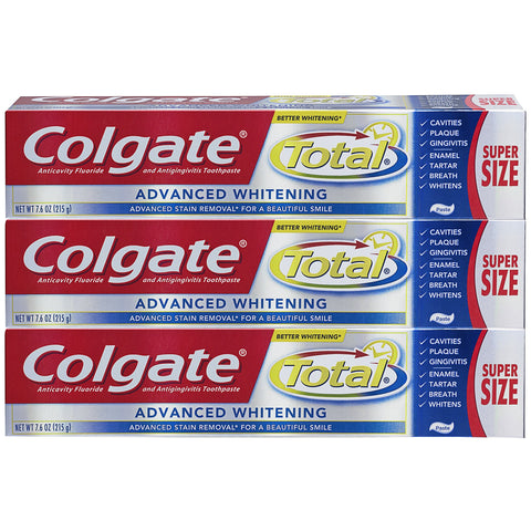 Colgate Total Toothpaste, Advanced Whitening Paste - 7.6 ounce, 215g (3 Pack) 7.6 oz (Pack of 3)