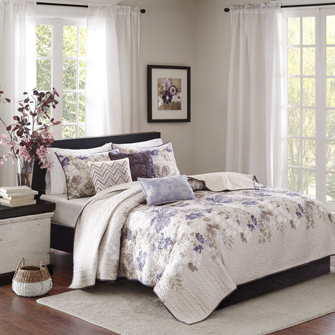 Madison Park Luna King/Cal King Size Quilt Bedding Set - Taupe, Purple, Floral, Leaf – 6 Piece Bedding Quilt Coverlets – Ultra Soft Microfiber with Cotton Filling Bed Quilts Quilted Coverlet King/California King
