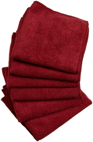 DII Microfiber Multi-Purpose Cleaning Cloths Perfect for Kitchens, Dishes, Car, Dusting, Drying Rags, 12 x 12, Set of 6 - Wine Cloth