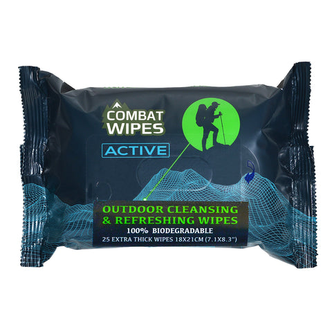 Combat Wipes ACTIVE Outdoor Wet Wipes | Extra Thick, Ultralight, Biodegradable, Body & Hand Cleansing/Refreshing Cloths for Camping, Travel, Gym & Backpacking w/ Natural Aloe & Vitamin E (25 Wipes) 25 Count