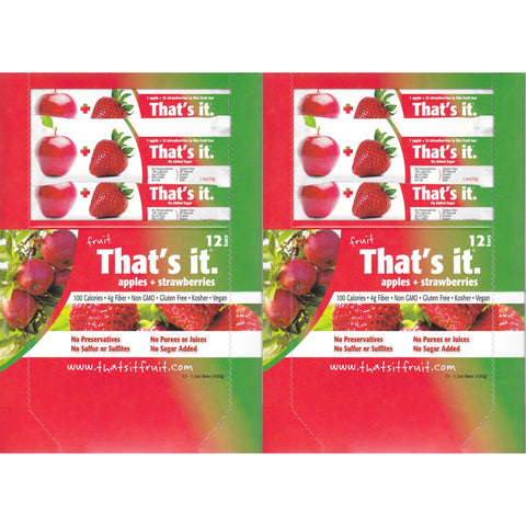 That's It Fruit Bars, Apple and Strawberry, Pack of 24 (2 Cases)