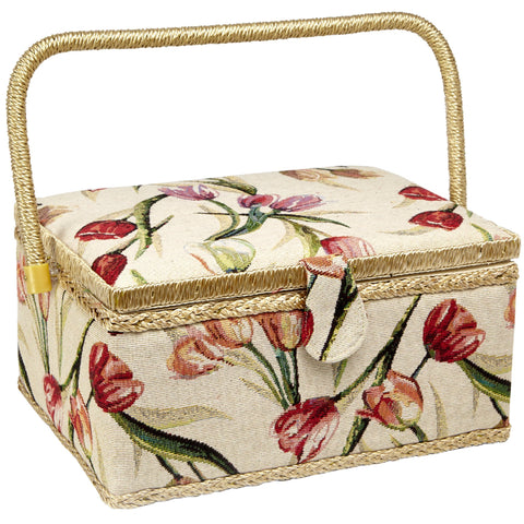 Sewing Basket with Tulip Floral Print Design- Sewing Kit Storage Box with Removable Tray, Built-in Pin Cushion and Interior Pocket - Large - 12  x 9  x 6  - by Adolfo Design Large - 12  x 9  x 6