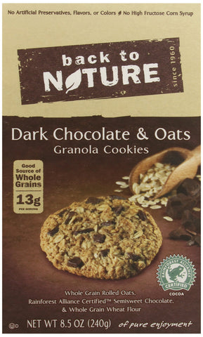 Back to Nature Non-GMO Dark Chocolate & Oats Cookies, 8.5 Ounce