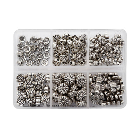 BRCbeads Top Quality Assorted Flower Tibetan Silver Flower Metal Spacer Beads Mix Lot 120pcs per Box For Jewelry Making Findings (Included Plastic Container) 5~11mm Mix Flower Beads Lot#1