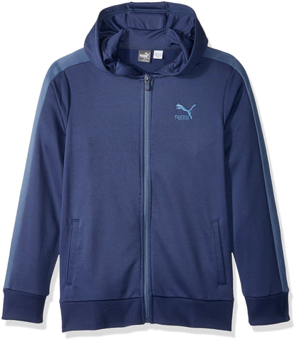 PUMA Boys' T7 Full Zip Hoodie Large (14/16) Blue Indigo