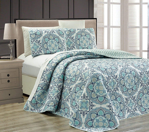 Fancy Collection 3 pc Bedspread Bed Cover Modern Reversible White Navy Blue Light Blue New # Linda Blue (King) King