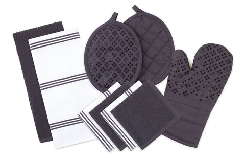Sticky Toffee Silicone Printed Oven Mitt & Pot Holder, Cotton Terry Kitchen Dish Towel & Dishcloth, Gray, 9 Piece Set 9 Piece Kitchen Set