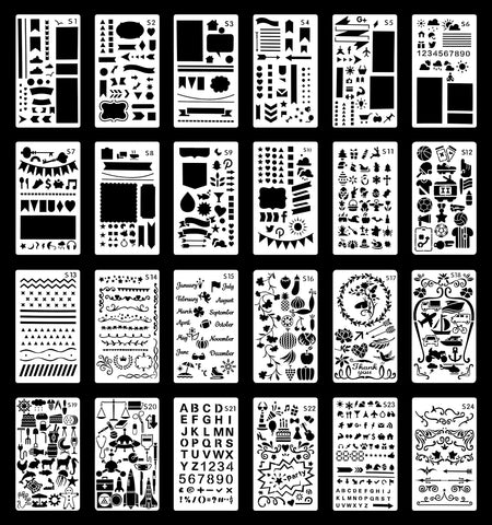 Wanderings Journal Stencil Set | Reusable Plastic Stencils for Journaling, Painting, Scrapbooking, Diary, Arts, Crafts | 24 Templates | Numbers, Letters, Shapes, Patterns, Borders | 4x7