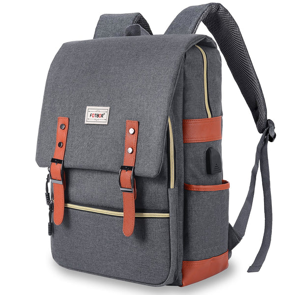 Unisex College Bag, Vintage Backpack, JDHDL Travel Business Laptop Backpack with USB Charging Port Casual Ruck Water Resistant Slim Bookbag 15.6 inch Tear Resistant Design for MacBook (Grey) grey