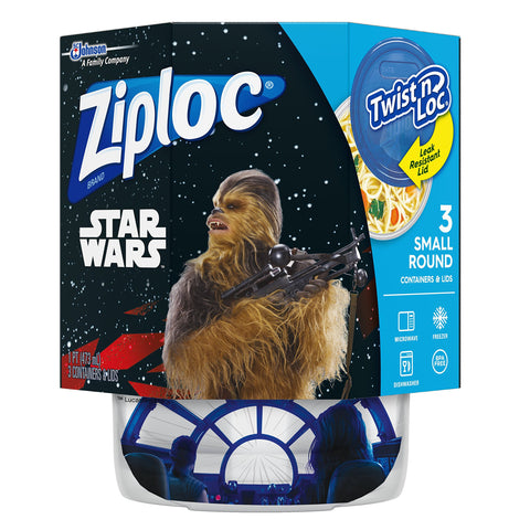 Ziploc Brand Container Twist n' Loc Featuring Star Wars Design, Small, 16oz, 3ct 3 Count