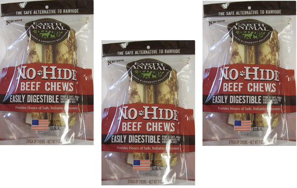 "(3 Packages) Earth Animal No-Hide Beef Chews 7"" (2 Chew Per Pack 6 Chew Total)"
