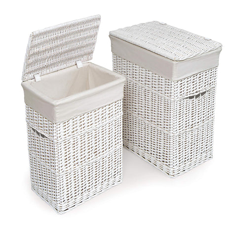 Wicker Two Laundry Hamper Set with Lids and Fabric Liners White