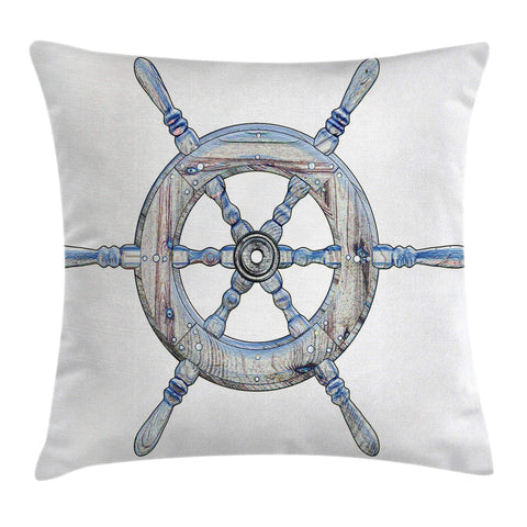 Ambesonne Nautical Decor Throw Pillow Cushion Cover, Illustration Wooden Ship Wheel White Backdrop Sailing Exploring Ocean Theme, Decorative Square Accent Pillow Case, 24 X 24 Inches, Blue White
