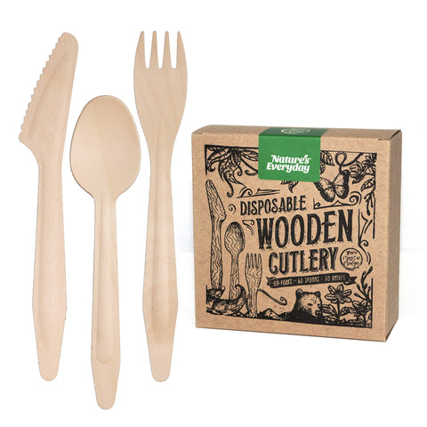 Large Full-Size Disposable Wooden Cutlery Sets | 180 Extra Strong Deluxe Pieces (60 Forks, 60 Spoons, 60 Knives) in Plastic-Free Box | All-Natural, Eco-Friendly, Biodegradable, Compostable Birch Wood Combo Party Pack 180 Count
