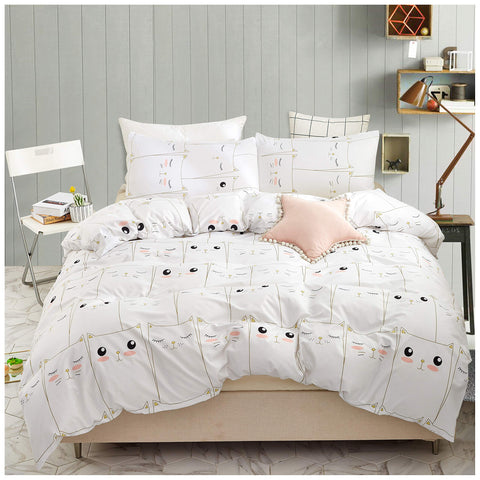 Elephant Soft Kids Twin Bedding Duvet Cover Set,Premium Microfiber,Mini Cats Pattern On Comforter Cover-2pcs:1x Duvet Cover 1x Pillowcases with Zipper Closure (Twin) Sjt020