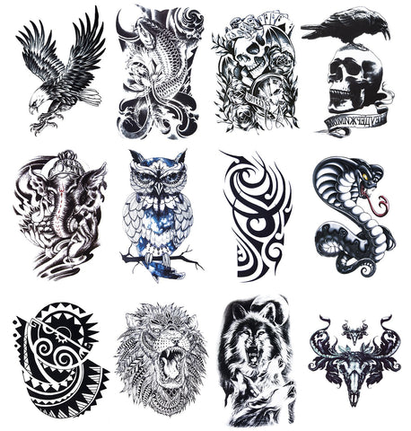 12 Sheets Temporary Tattoos Stickers, Fake Body Arm Chest Shoulder Tattoos for Men B-12 Sheets