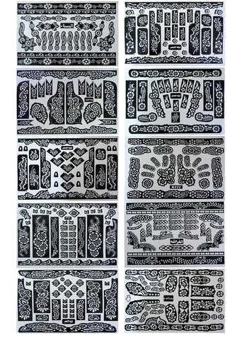 10 Sheets Temporary Tattoo Stencils Various Designs Templates for Henna, Body Art, Airbrush (10 sheets - 11 x7.5  each) 10 sheets - 11 x7.5  each