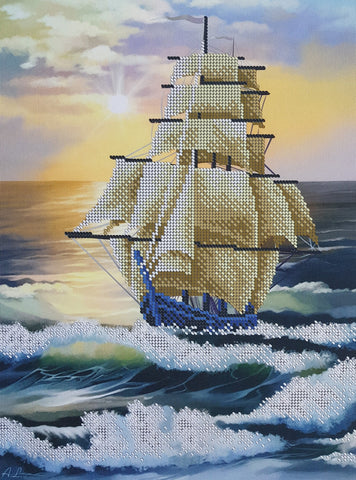 Sailing Ship Bead Embroidery Needlepoint Tapestry kit Sea Beaded Stitching kit Needlecraft kit Ocean Ship Bordado