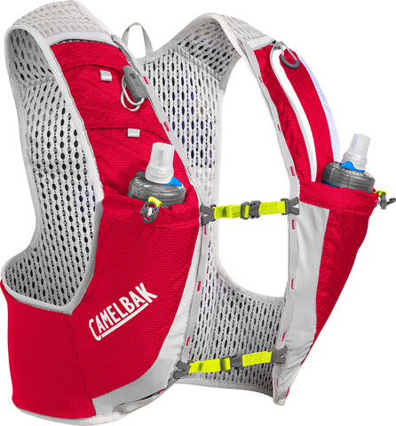 CamelBak Ultra Pro Quick Stow Hydration Vest, 17oz Crimson Red & Lime Punch Large