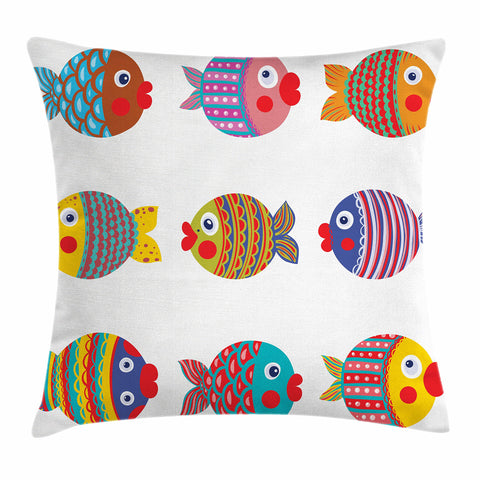 Ambesonne Funny Decor Throw Pillow Cushion Cover, Puffers Toadfish Childish Fish Family with Folk Art Patterns Children Nursery Decor, Decorative Square Accent Pillow Case, 16 X 16 Inches, Multi