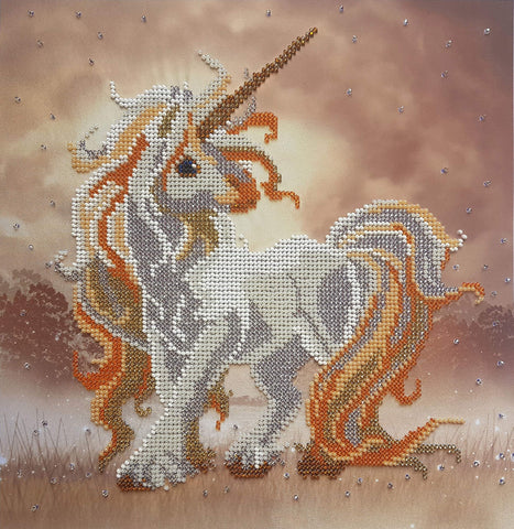 Beaded Cross Stitch kit Baby Unicorn Bead Needlepoint Handcraft Tapestry kit Horse Nursery Decor Beaded Stitching beadpoint Embroidery Set