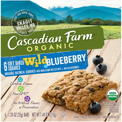 Cascadian Farm Organic Soft Baked Squares, Wild Blueberry Snack Bar, 6 Bars