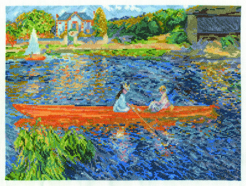 "DMC BL1068/71 16 Count Renoir The Skiff Counted Cross Stitch Kit, 12"" x 9"", Multicolor"