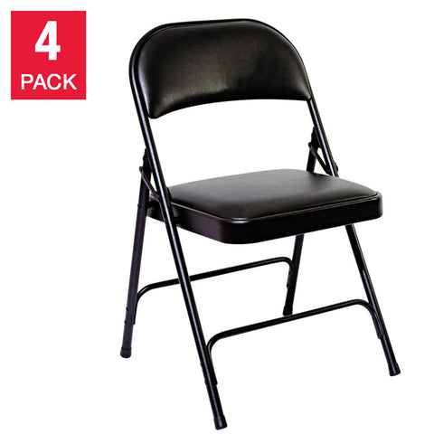 Alera Steel Folding Chair with Padded Seat, Graphite, 4-pack