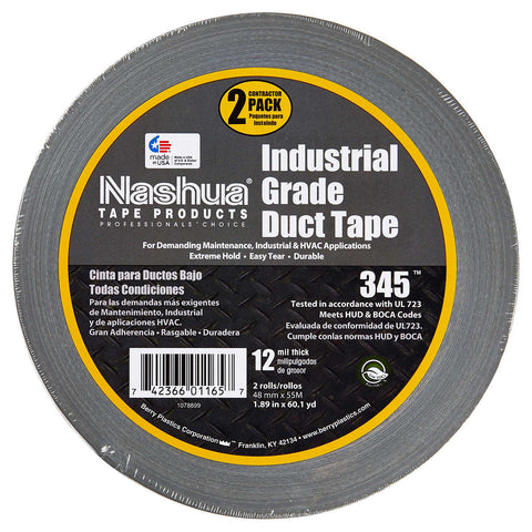 Nashua Industrial Grade Duct Tape, Silver, 1.89 in x 60.1 yd, 2-count