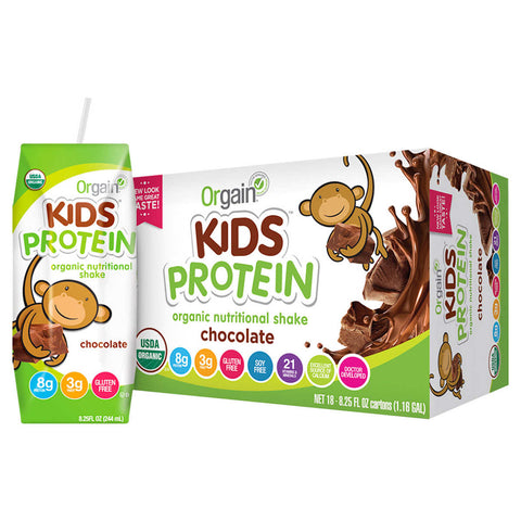 Orgain UDSA Organic Kids Nutritional Protein Shake, Chocolate 8.25 fl oz, 18-count