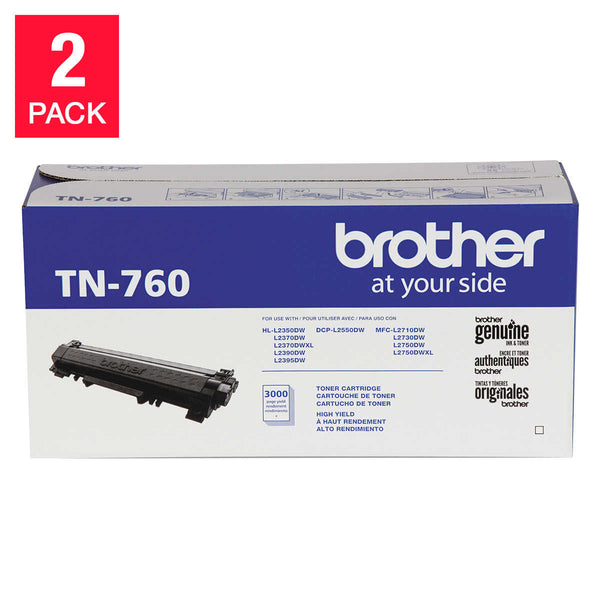 Brother TN760 High-Yield Toner Cartridge, Black, 2-pack
