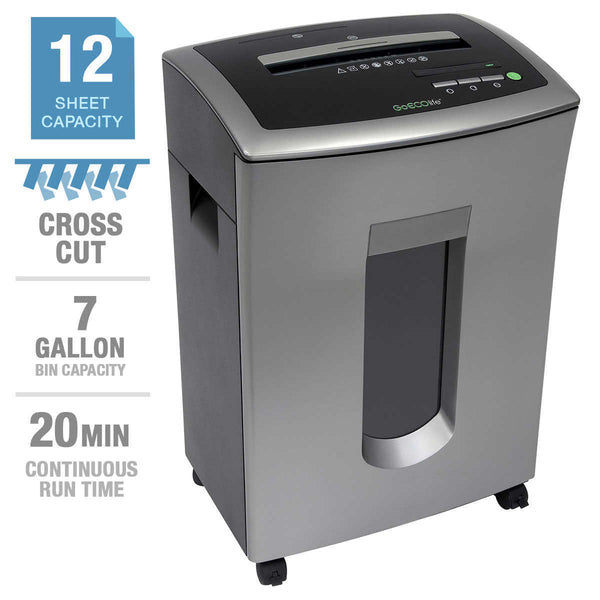 GoECOlife Commercial-Grade 12-Sheet Crosscut Shredder