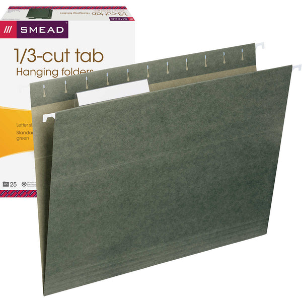 Smead Hanging File Folders, 1/3 Tab, Letter, Green, 25-count