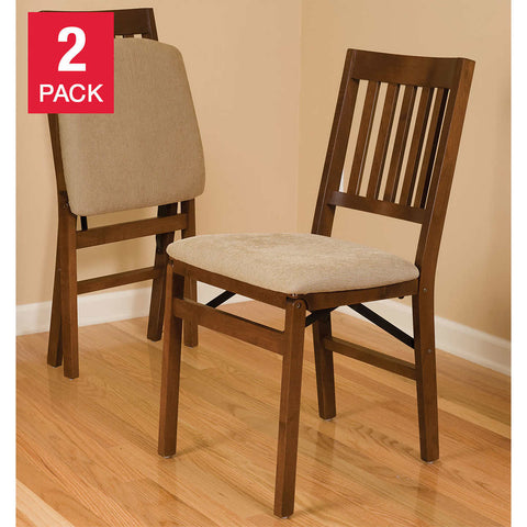 Stakmore Solid Wood Upholstered Folding Chair, Fruitwood, 2-pack