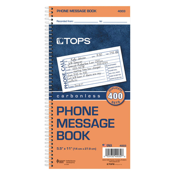 Tops Two-Part Carbonless Spiralbound Message Book, 3-count