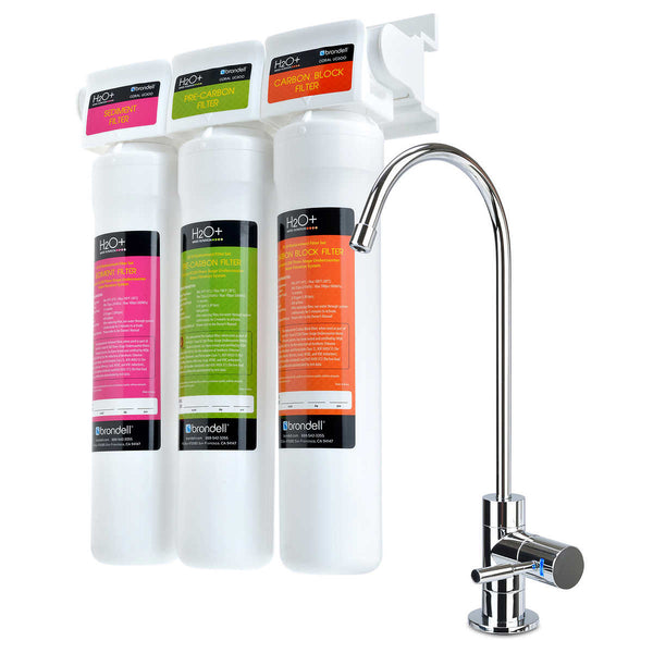Brondell Three-Stage Water Filtration System with LED Chrome Faucet