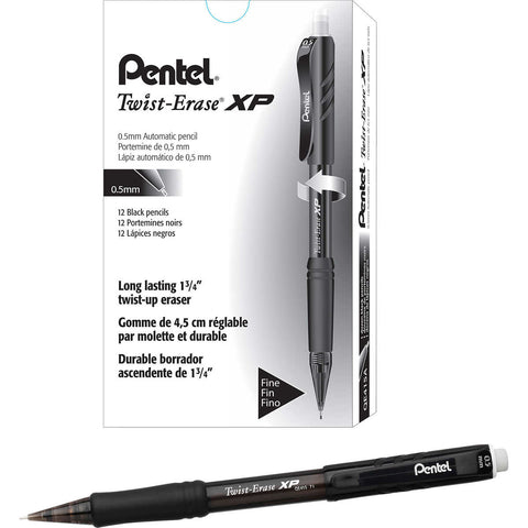 Pentel Twist-Erase Express Mechanical Pencil 0.5mm Black, 12-count
