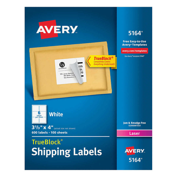 Avery Laser Mailing Labels 3-1/3 x 4, 600-count