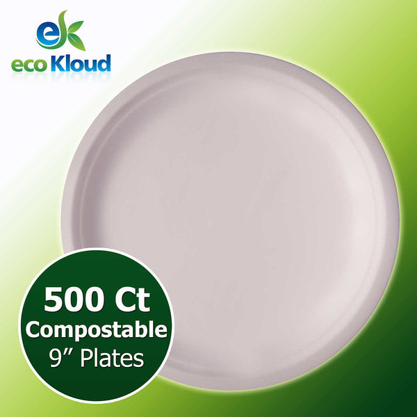 "Eco Kloud 9"" Compostable Plate, 500-count"