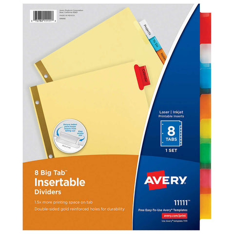 Avery Insertable 8-Tab Big Tab Dividers, Letter Size, Multi-Color, 6-count