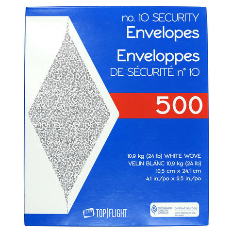 Top Flight #10 Security Envelope 24# 4-1/8  x 9-1/2  500-count