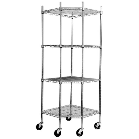 "TRINITY EcoStorage 4-tier Corner Wire Shelving Rack with Wheels, 18"" D, NSF, Chrome Color"