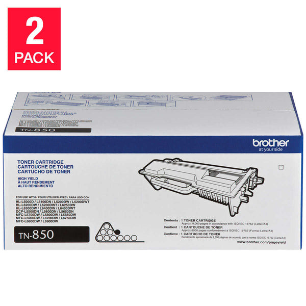 Brother TN850 High-Yield Toner Cartridge, Black, 2-pack